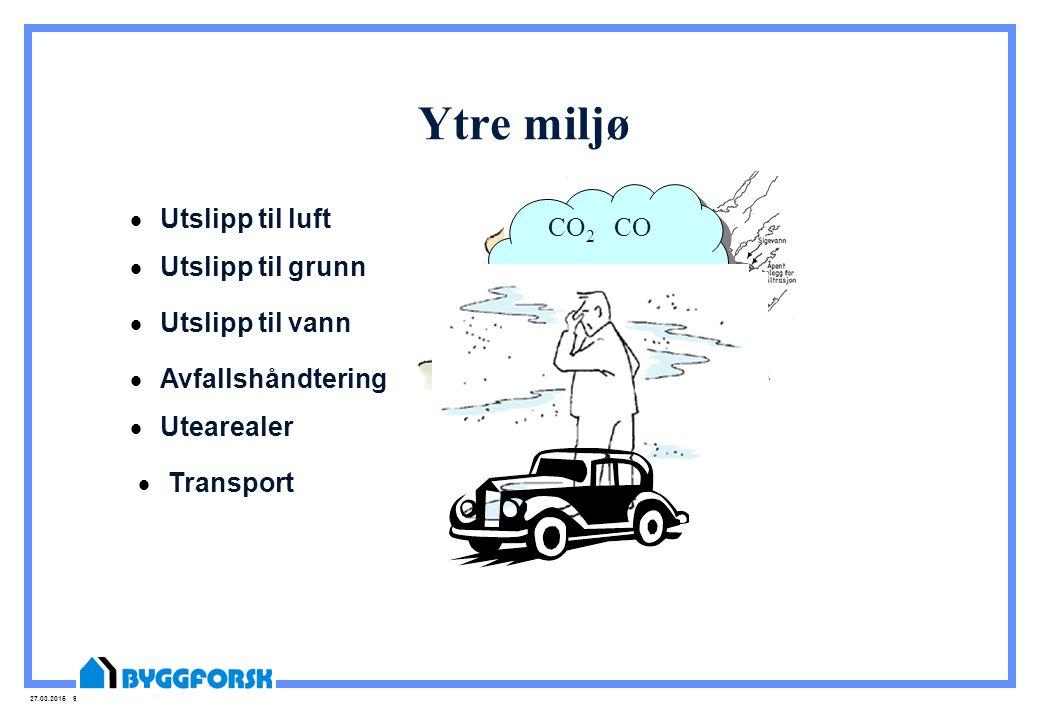 27.03.2015 9 Ytre miljø  Utslipp til luft CO 2 CO NO X SO 2 CO 2 CO NO X SO 2  Utslipp til grunn  Avfallshåndtering  Utslipp til vann  Utearealer