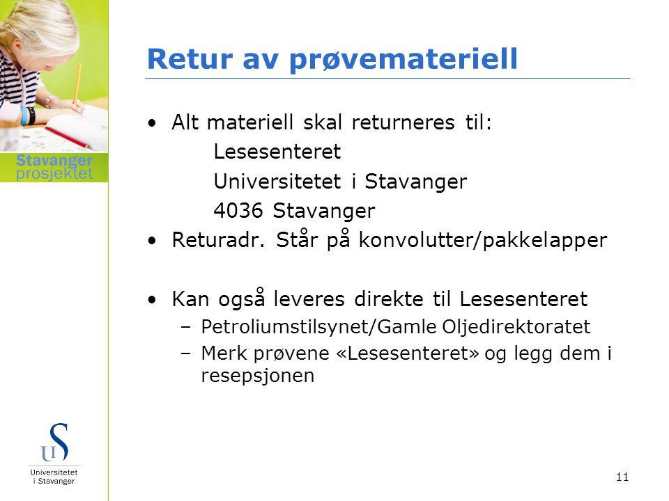 Retur av prøvemateriell Alt materiell skal returneres til: Lesesenteret Universitetet i Stavanger 4036 Stavanger Returadr. Står på konvolutter/pakkela