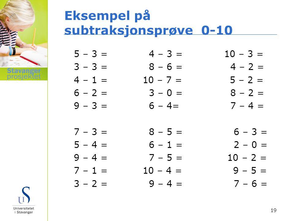 Eksempel på subtraksjonsprøve 0-10 5 – 3 = 4 – 3 = 10 – 3 = 3 – 3 = 8 – 6 = 4 – 2 = 4 – 1 = 10 – 7 = 5 – 2 = 6 – 2 = 3 – 0 = 8 – 2 = 9 – 3 = 6 – 4= 7