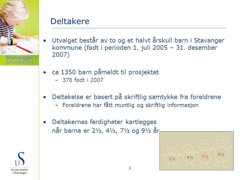 Delprosjekter i Stavangerprosjektet Barnehagebarns utvikling –Språk, matematikk, motorikk og sosial kompetanse Skolebarns utvikling –Lesing, staving og regning Barn med observerte risikofaktorer –Meldt til PPT eller Fysio-Ergoterapi tjenesten Flerspråklige barn –Ca 16 5 av deltakerne 4
