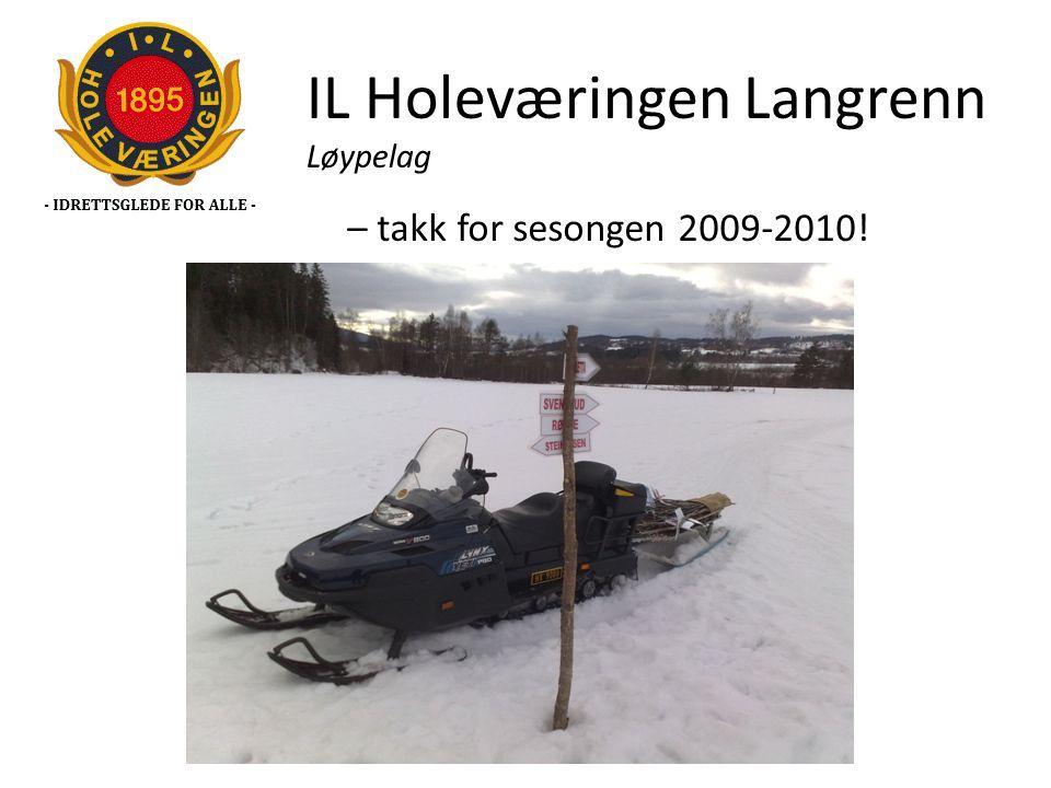 IL Holeværingen Langrenn Løypelag – takk for sesongen 2009-2010!