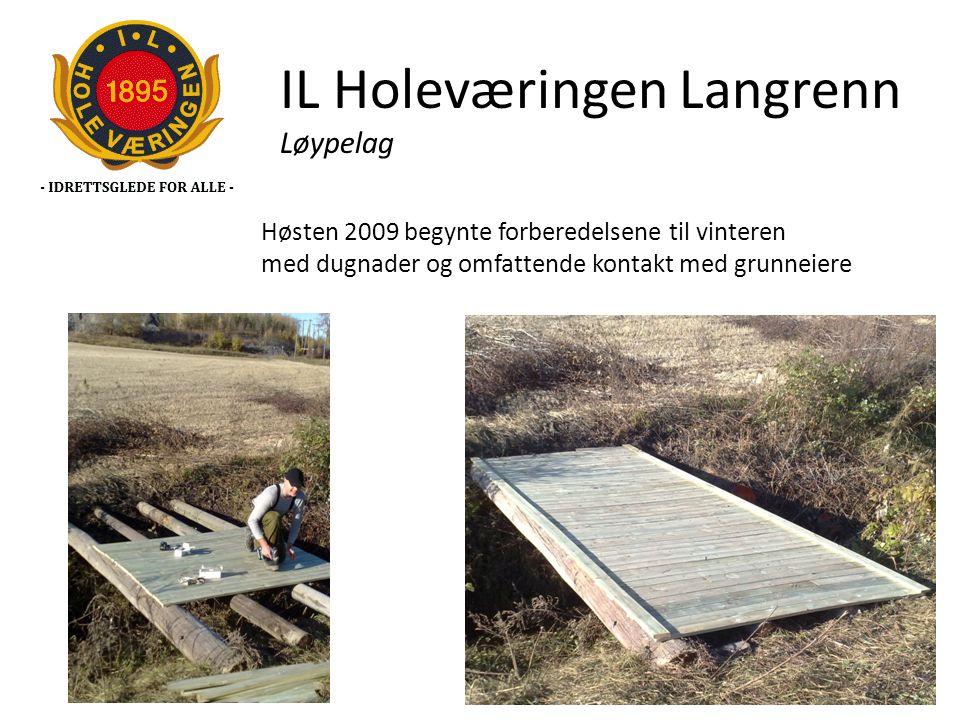 IL Holeværingen Langrenn Løypelag Høsten 2009 begynte forberedelsene til vinteren med dugnader og omfattende kontakt med grunneiere