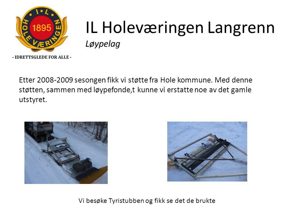 IL Holeværingen Langrenn Løypelag Etter 2008-2009 sesongen fikk vi støtte fra Hole kommune. Med denne støtten, sammen med løypefonde,t kunne vi erstat