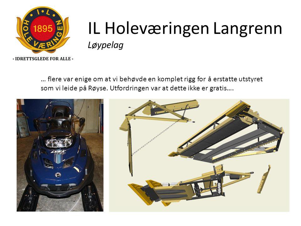 IL Holeværingen Langrenn Løypelag … flere var enige om at vi behøvde en komplet rigg for å erstatte utstyret som vi leide på Røyse. Utfordringen var a