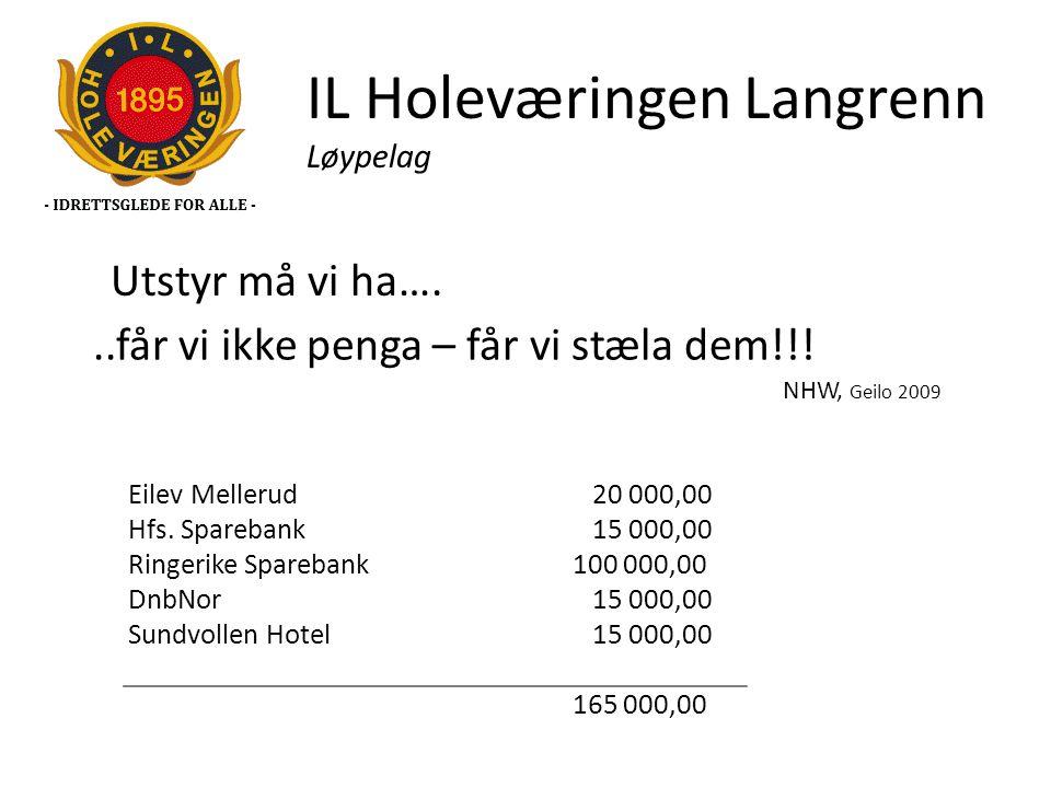 IL Holeværingen Langrenn Løypelag..får vi ikke penga – får vi stæla dem!!! NHW, Geilo 2009 Eilev Mellerud 20 000,00 Hfs. Sparebank 15 000,00 Ringerike