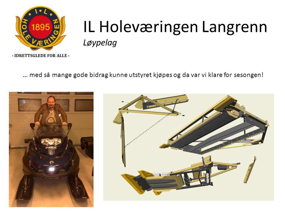 IL Holeværingen Langrenn Løypelag … med så mange gode bidrag kunne utstyret kjøpes og da var vi klare for sesongen!