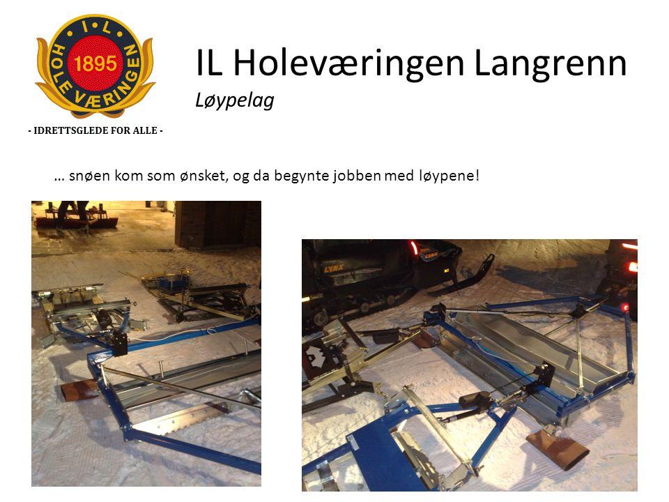 IL Holeværingen Langrenn Løypelag … snøen kom som ønsket, og da begynte jobben med løypene!