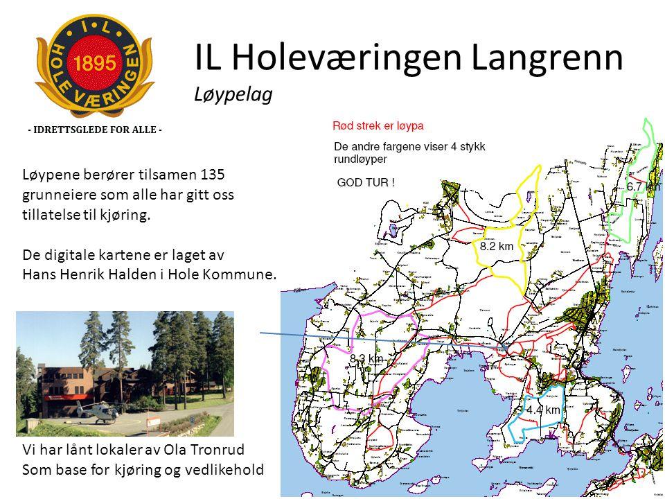 IL Holeværingen Langrenn Løypelag Løypene berører tilsamen 135 grunneiere som alle har gitt oss tillatelse til kjøring. De digitale kartene er laget a