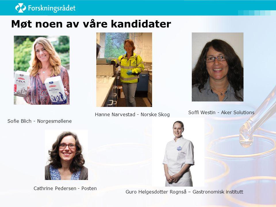 Møt noen av våre kandidater Sofie Blich - Norgesmøllene Soffi Westin - Aker Solutions Hanne Narvestad - Norske Skog Cathrine Pedersen - Posten Guro Helgesdotter Rognså – Gastronomisk institutt