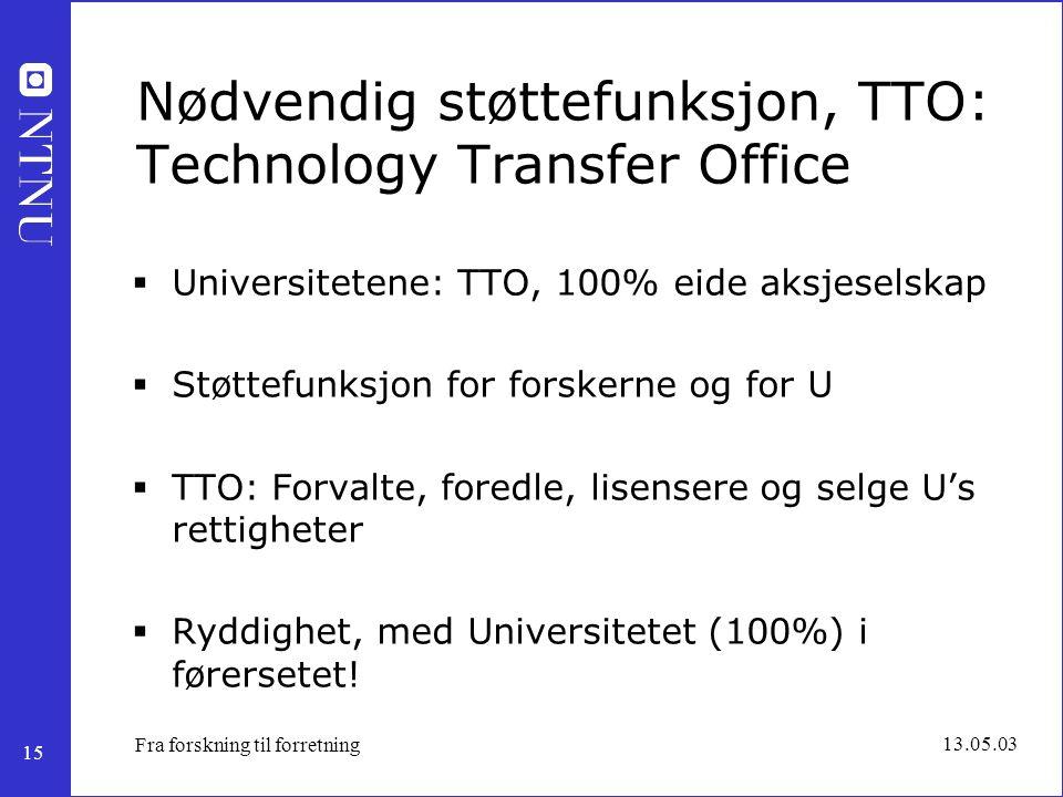 15 13.05.03 Fra forskning til forretning Nødvendig støttefunksjon, TTO: Technology Transfer Office  Universitetene: TTO, 100% eide aksjeselskap  Stø