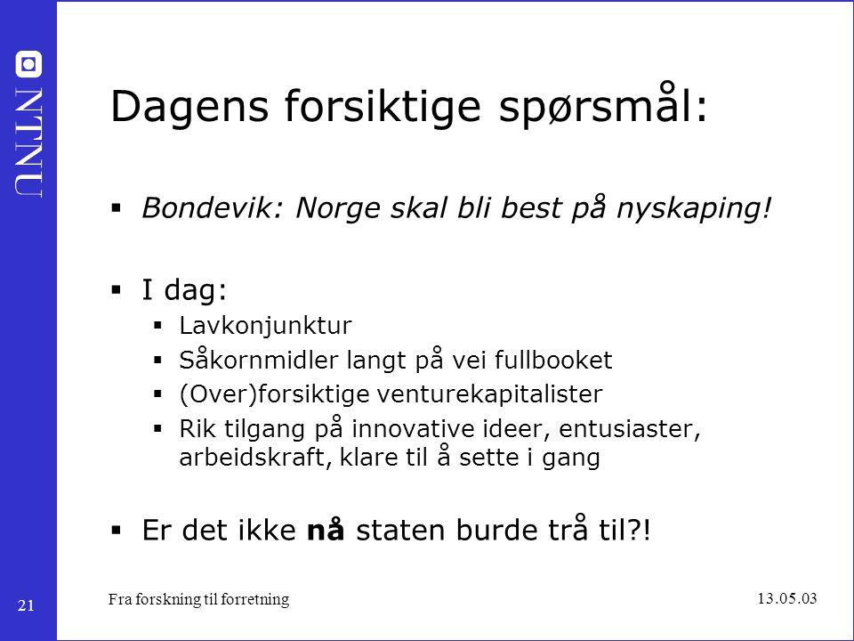 21 13.05.03 Fra forskning til forretning Dagens forsiktige spørsmål:  Bondevik: Norge skal bli best på nyskaping!  I dag:  Lavkonjunktur  Såkornmi