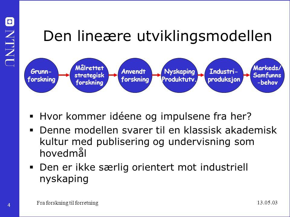 4 13.05.03 Fra forskning til forretning Den lineære utviklingsmodellen  Hvor kommer idéene og impulsene fra her?  Denne modellen svarer til en klass