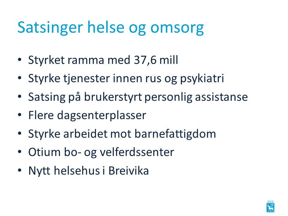 Satsinger helse og omsorg Styrket ramma med 37,6 mill Styrke tjenester innen rus og psykiatri Satsing på brukerstyrt personlig assistanse Flere dagsenterplasser Styrke arbeidet mot barnefattigdom Otium bo- og velferdssenter Nytt helsehus i Breivika