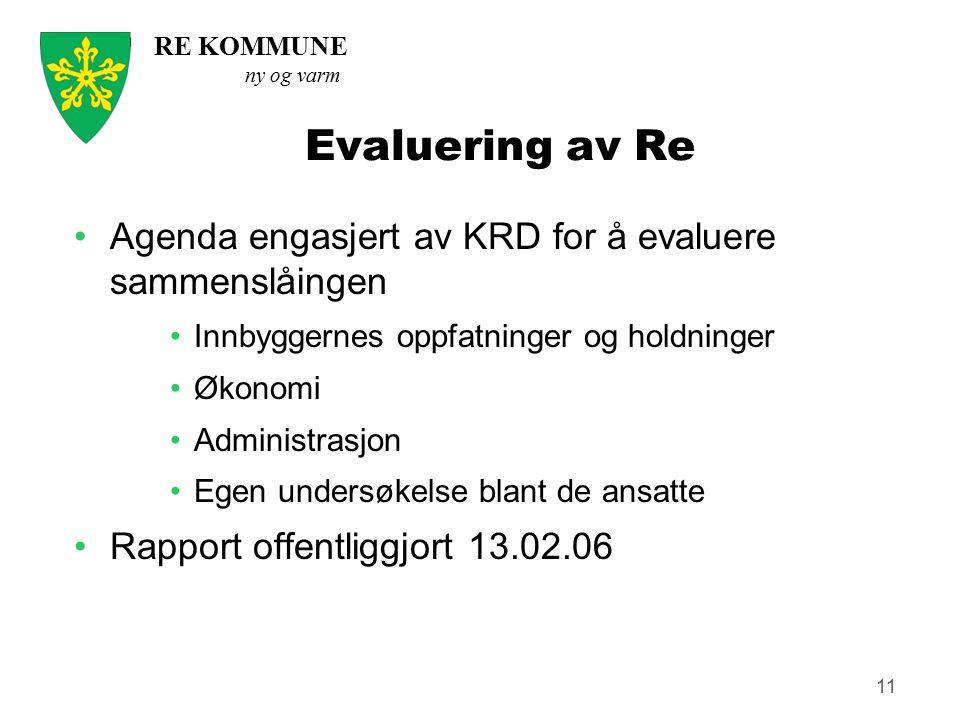 RE KOMMUNE ny og varm 11 Evaluering av Re Agenda engasjert av KRD for å evaluere sammenslåingen Innbyggernes oppfatninger og holdninger Økonomi Admini