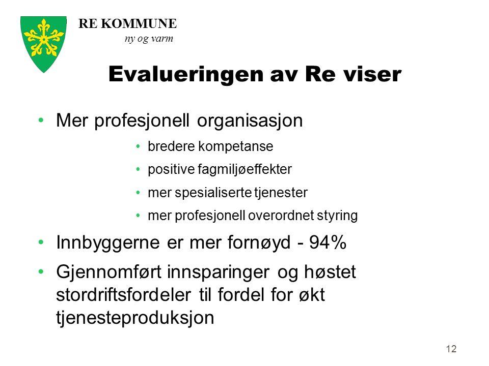 RE KOMMUNE ny og varm 12 Evalueringen av Re viser Mer profesjonell organisasjon bredere kompetanse positive fagmiljøeffekter mer spesialiserte tjenest