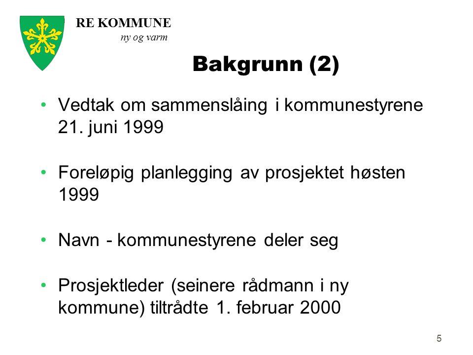 RE KOMMUNE ny og varm 5 Bakgrunn (2) Vedtak om sammenslåing i kommunestyrene 21. juni 1999 Foreløpig planlegging av prosjektet høsten 1999 Navn - komm