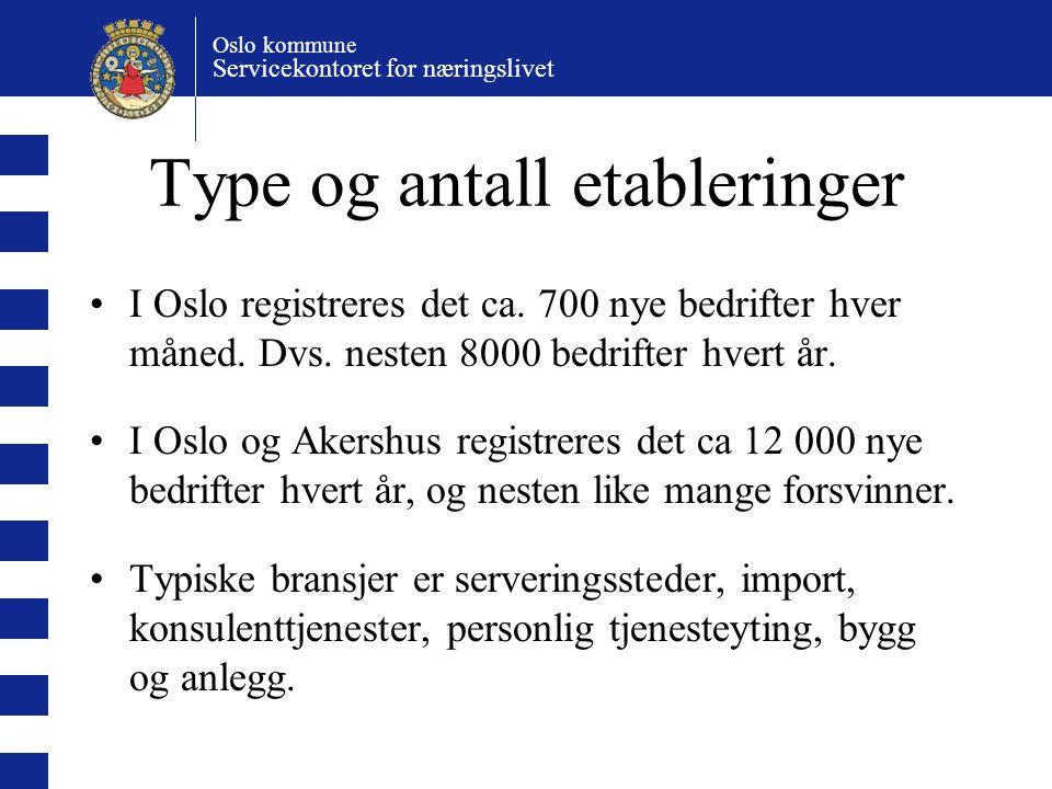 Oslo kommune Servicekontoret for næringslivet Type og antall etableringer I Oslo registreres det ca.