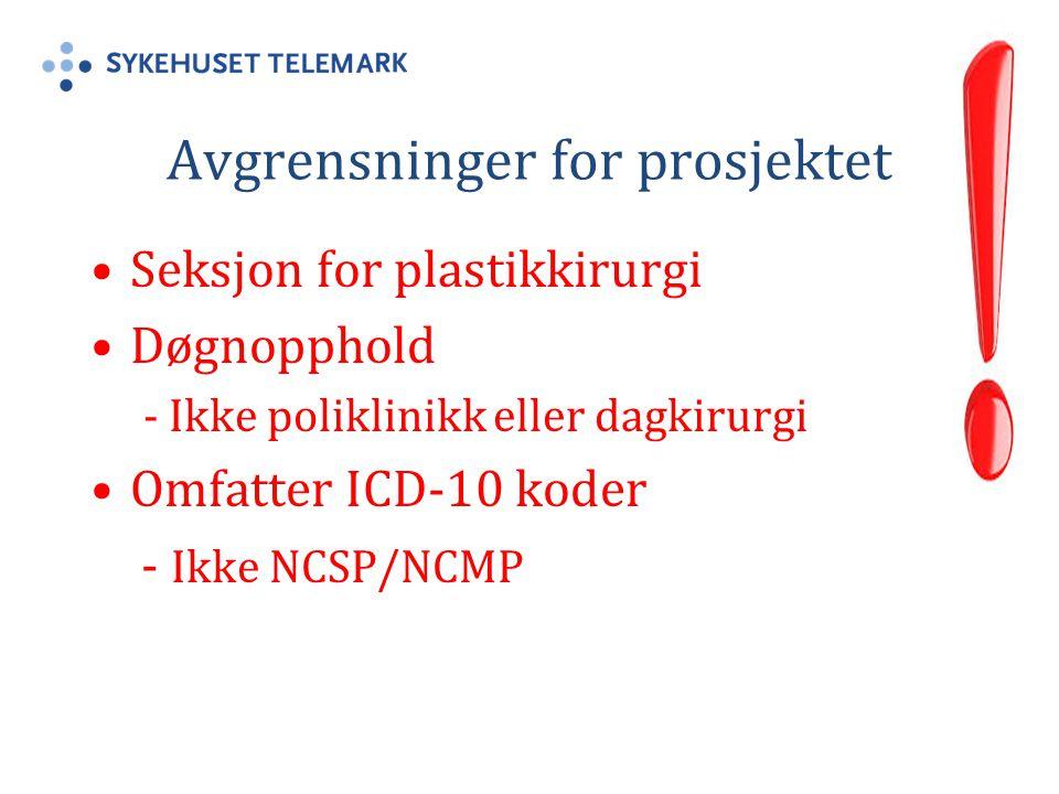 Avgrensninger for prosjektet Seksjon for plastikkirurgi Døgnopphold - Ikke poliklinikk eller dagkirurgi Omfatter ICD-10 koder - Ikke NCSP/NCMP