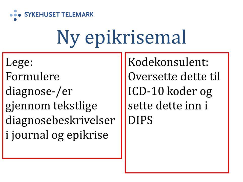 Ny epikrisemal Lege: Formulere diagnose-/er gjennom tekstlige diagnosebeskrivelser i journal og epikrise Kodekonsulent: Oversette dette til ICD-10 kod