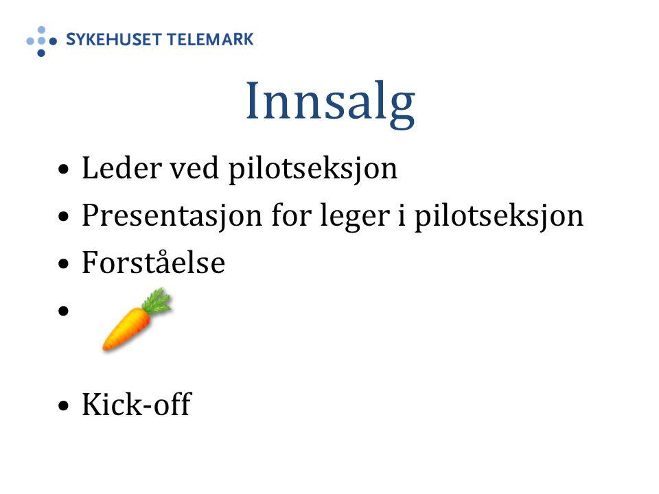 Innsalg Leder ved pilotseksjon Presentasjon for leger i pilotseksjon Forståelse Kick-off
