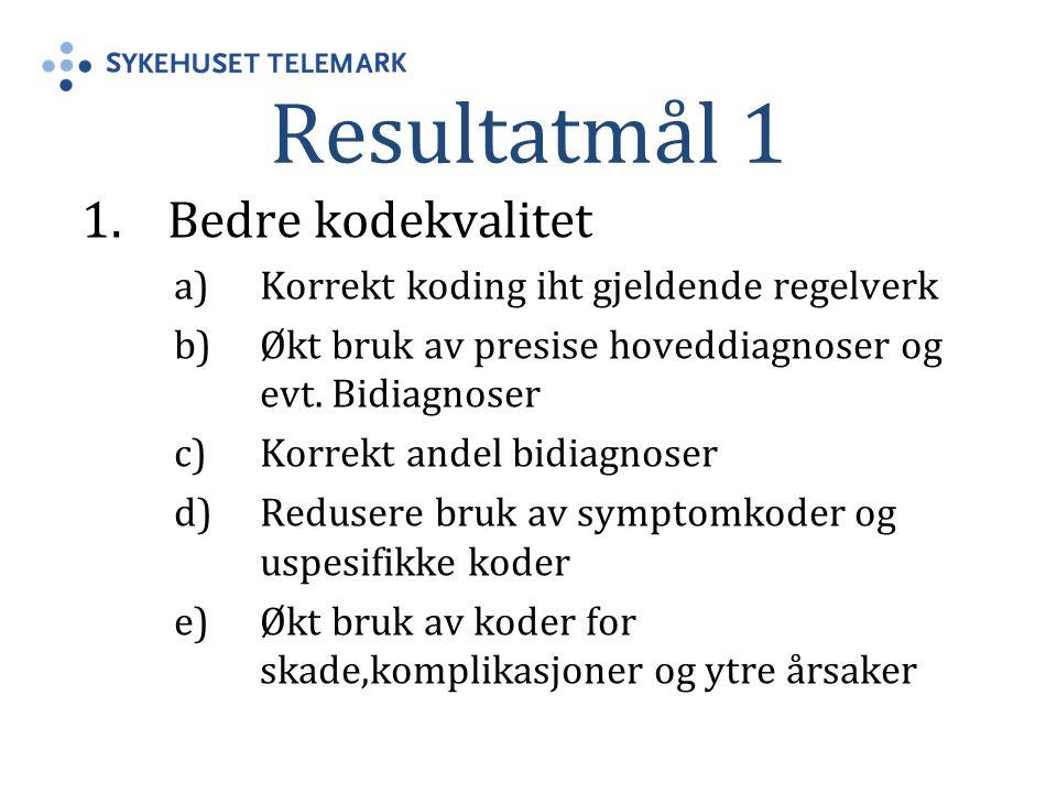 Resultatmål 1 1.Bedre kodekvalitet a)Korrekt koding iht gjeldende regelverk b)Økt bruk av presise hoveddiagnoser og evt. Bidiagnoser c)Korrekt andel b