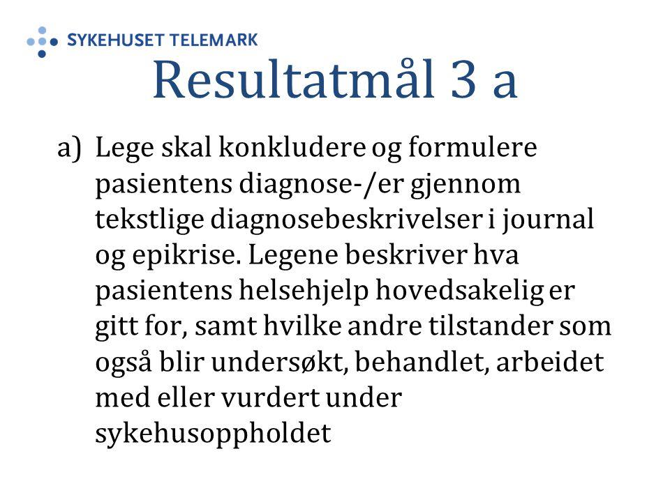 Resultatmål 3 a a)Lege skal konkludere og formulere pasientens diagnose-/er gjennom tekstlige diagnosebeskrivelser i journal og epikrise. Legene beskr