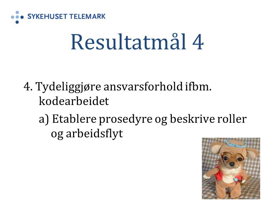 Resultatmål 4 4. Tydeliggjøre ansvarsforhold ifbm. kodearbeidet a) Etablere prosedyre og beskrive roller og arbeidsflyt