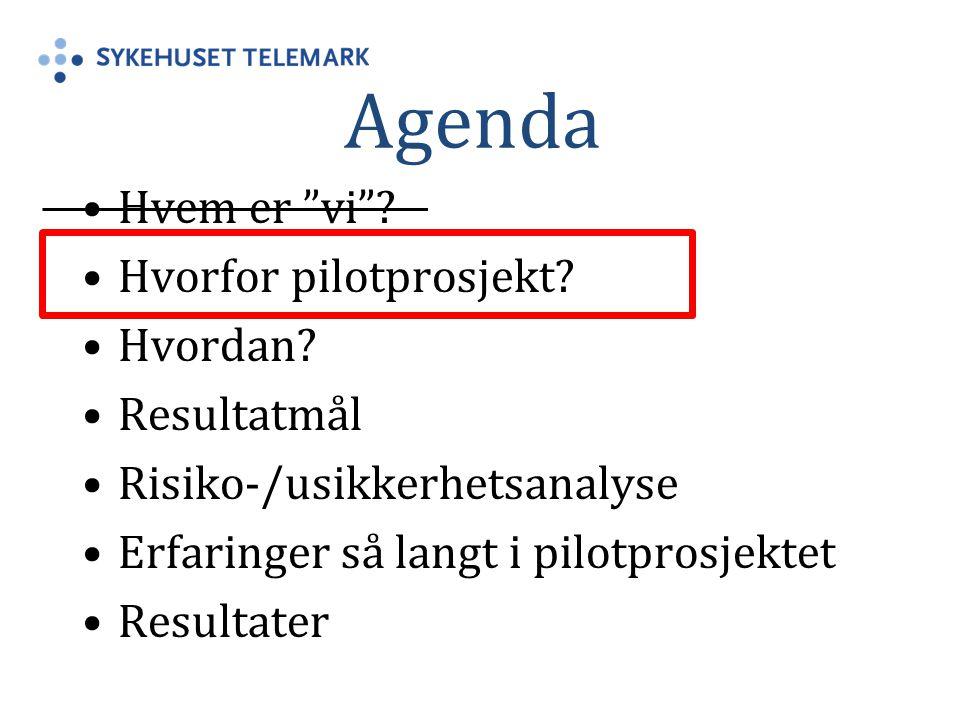 """Agenda Hvem er """"vi""""? Hvorfor pilotprosjekt? Hvordan? Resultatmål Risiko-/usikkerhetsanalyse Erfaringer så langt i pilotprosjektet Resultater"""