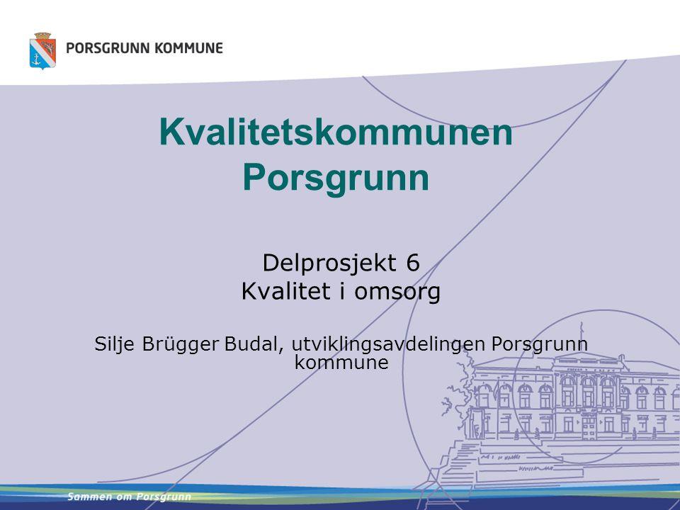 Kvalitetskommunen Porsgrunn Delprosjekt 6 Kvalitet i omsorg Silje Brügger Budal, utviklingsavdelingen Porsgrunn kommune