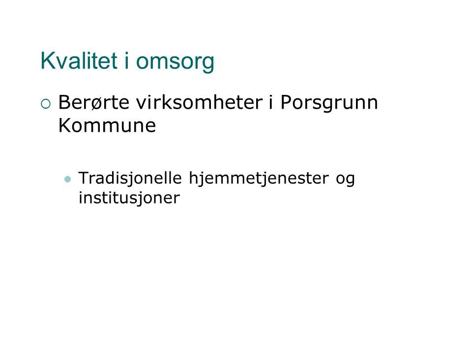 Kvalitet i omsorg  Berørte virksomheter i Porsgrunn Kommune Tradisjonelle hjemmetjenester og institusjoner