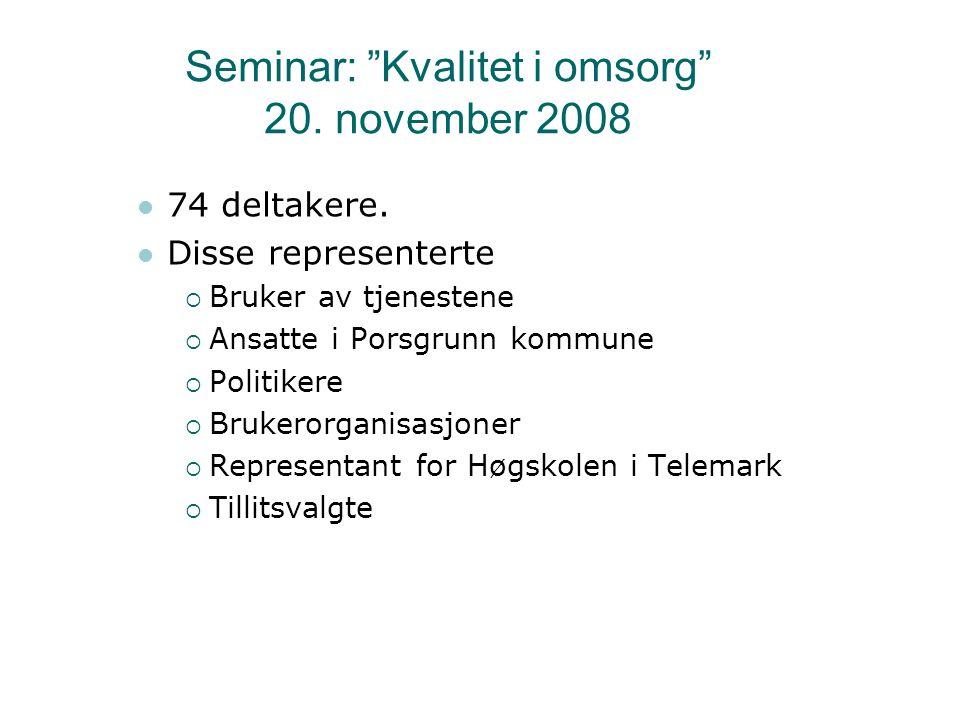 Seminar: Kvalitet i omsorg 20. november 2008 74 deltakere.