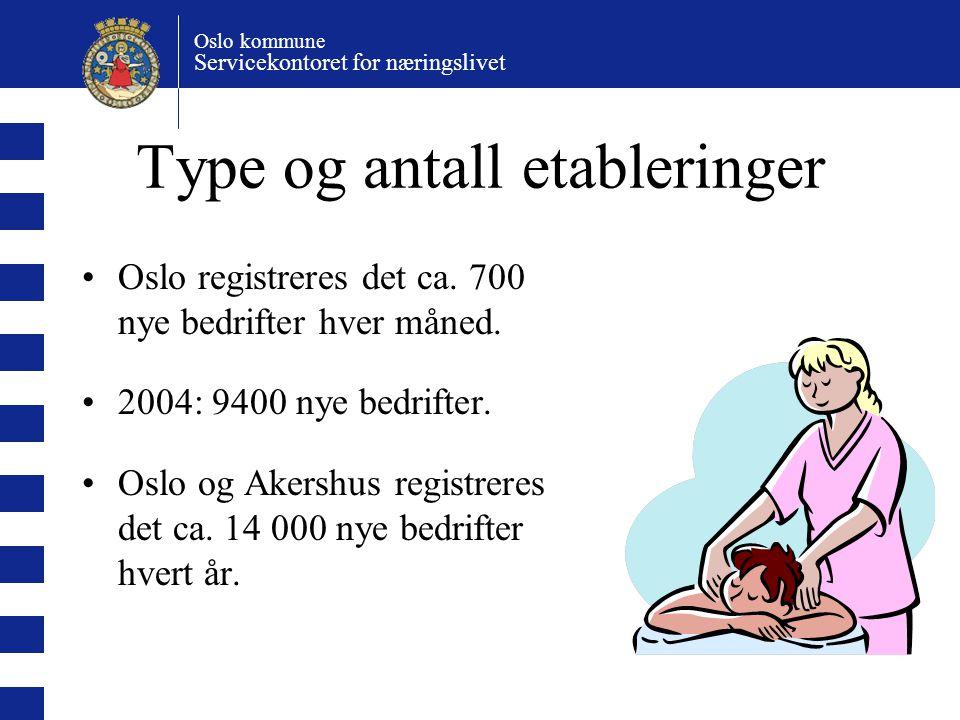 Oslo kommune Servicekontoret for næringslivet Type og antall etableringer Oslo registreres det ca. 700 nye bedrifter hver måned. 2004: 9400 nye bedrif