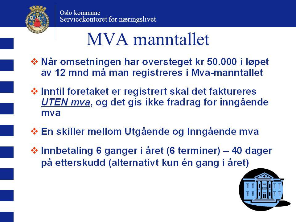 Oslo kommune Servicekontoret for næringslivet MVA manntallet