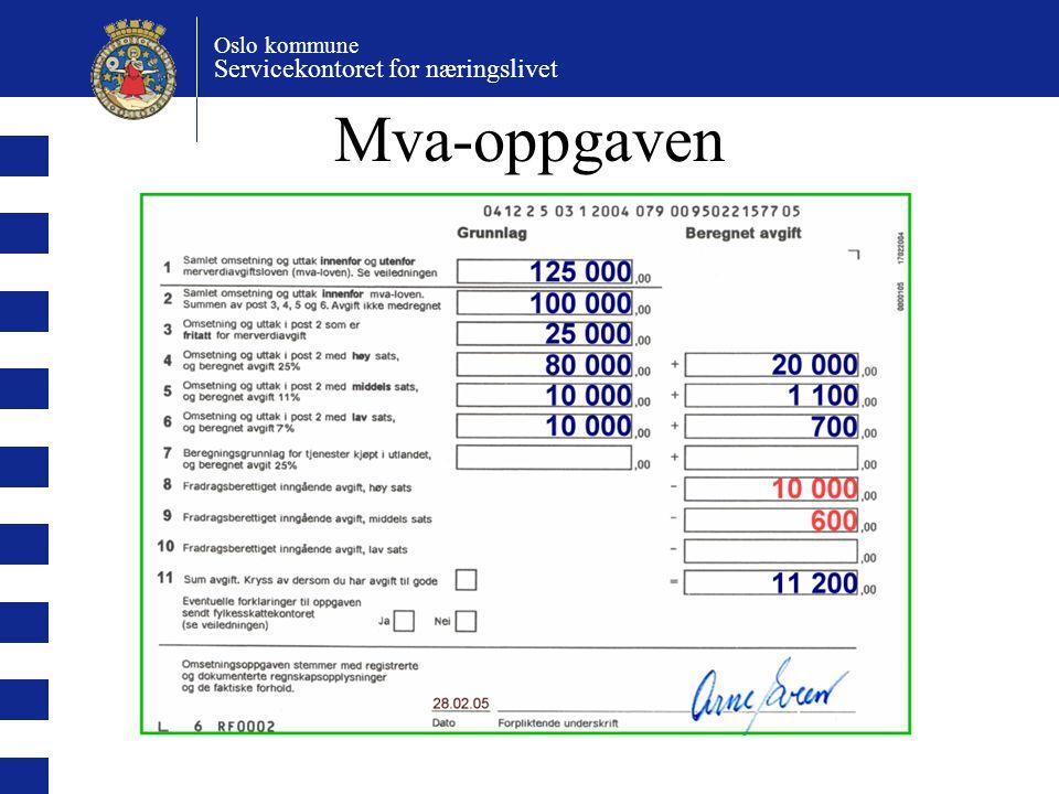 Oslo kommune Servicekontoret for næringslivet Mva-oppgaven