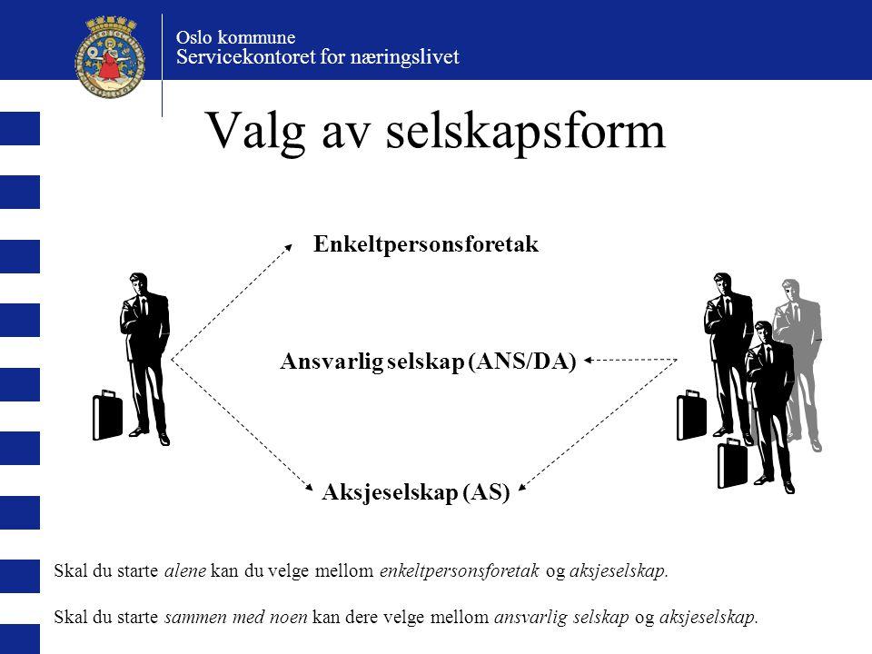 Oslo kommune Servicekontoret for næringslivet Valg av selskapsform Enkeltpersonsforetak Ansvarlig selskap (ANS/DA) Aksjeselskap (AS) Skal du starte al