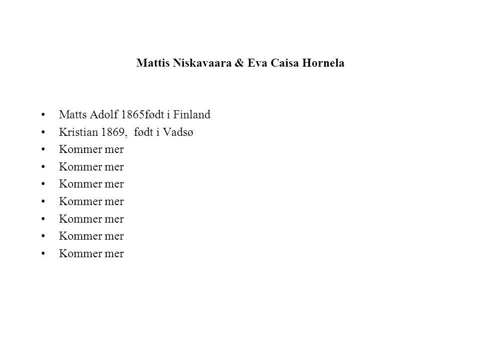 Mattis Niskavaara & Eva Caisa Hornela Matts Adolf 1865født i Finland Kristian 1869, født i Vadsø Kommer mer
