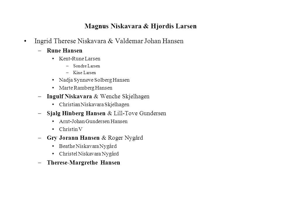 Magnus Niskavara & Hjørdis Larsen Ingrid Therese Niskavara & Valdemar Johan Hansen –Rune Hansen Kent-Rune Larsen –Sondre Larsen –Kine Larsen Nadja Syn