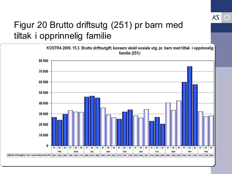 Figur 20 Brutto driftsutg (251) pr barn med tiltak i opprinnelig familie