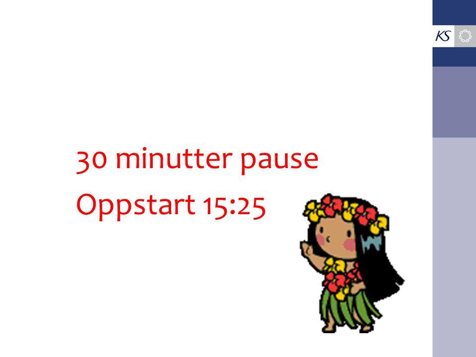 30 minutter pause Oppstart 15:25
