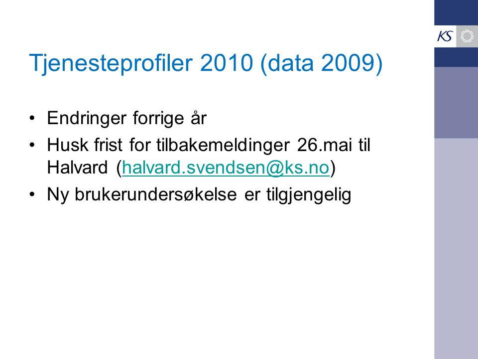 Tjenesteprofiler 2010 (data 2009) Endringer forrige år Husk frist for tilbakemeldinger 26.mai til Halvard (halvard.svendsen@ks.no)halvard.svendsen@ks.no Ny brukerundersøkelse er tilgjengelig