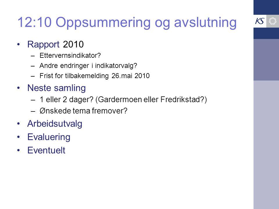 12:10 Oppsummering og avslutning Rapport 2010 –Ettervernsindikator.