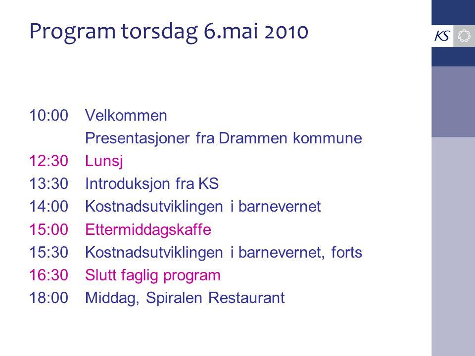 Program torsdag 6.mai 2010 10:00Velkommen Presentasjoner fra Drammen kommune 12:30Lunsj 13:30Introduksjon fra KS 14:00Kostnadsutviklingen i barneverne