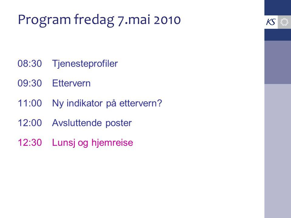Program fredag 7.mai 2010 08:30Tjenesteprofiler 09:30Ettervern 11:00Ny indikator på ettervern.