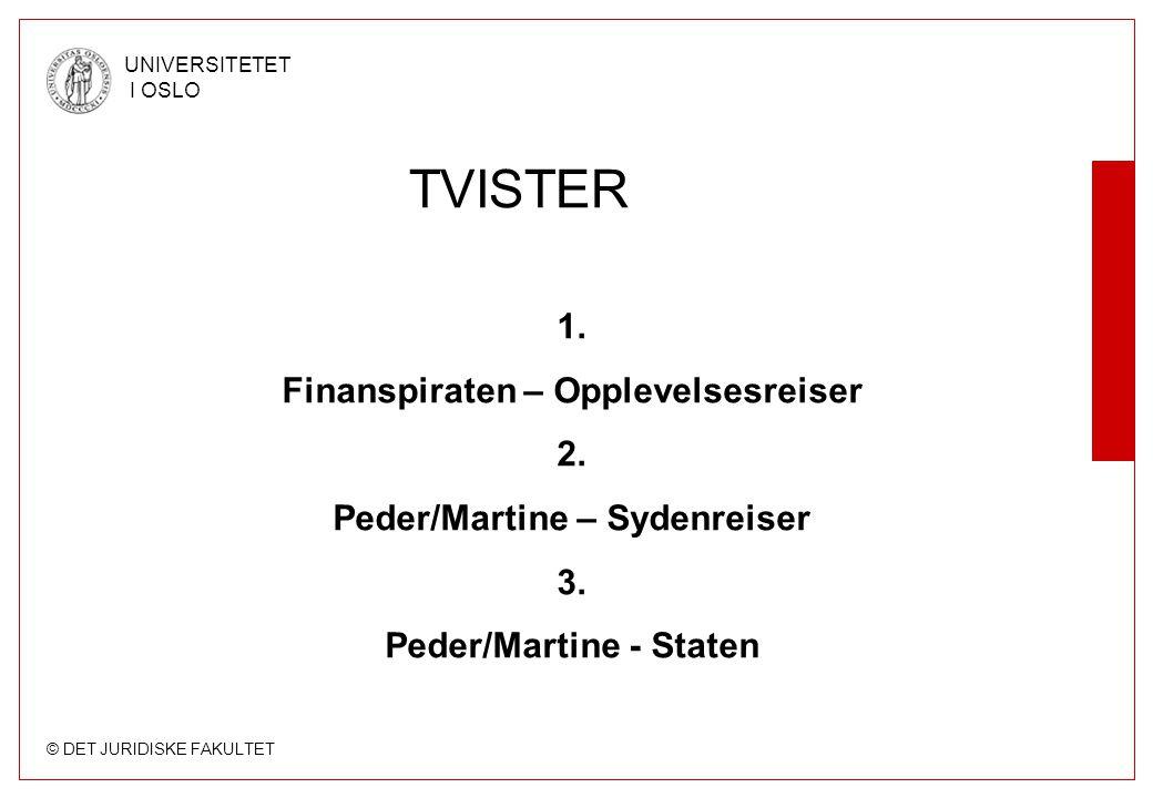 © DET JURIDISKE FAKULTET UNIVERSITETET I OSLO 1.1 Dekning av utgifter til helikoptertransport (forts.) Erstatning –Rettslig grunnlag: Pakkereiseloven § 6-4 jf.