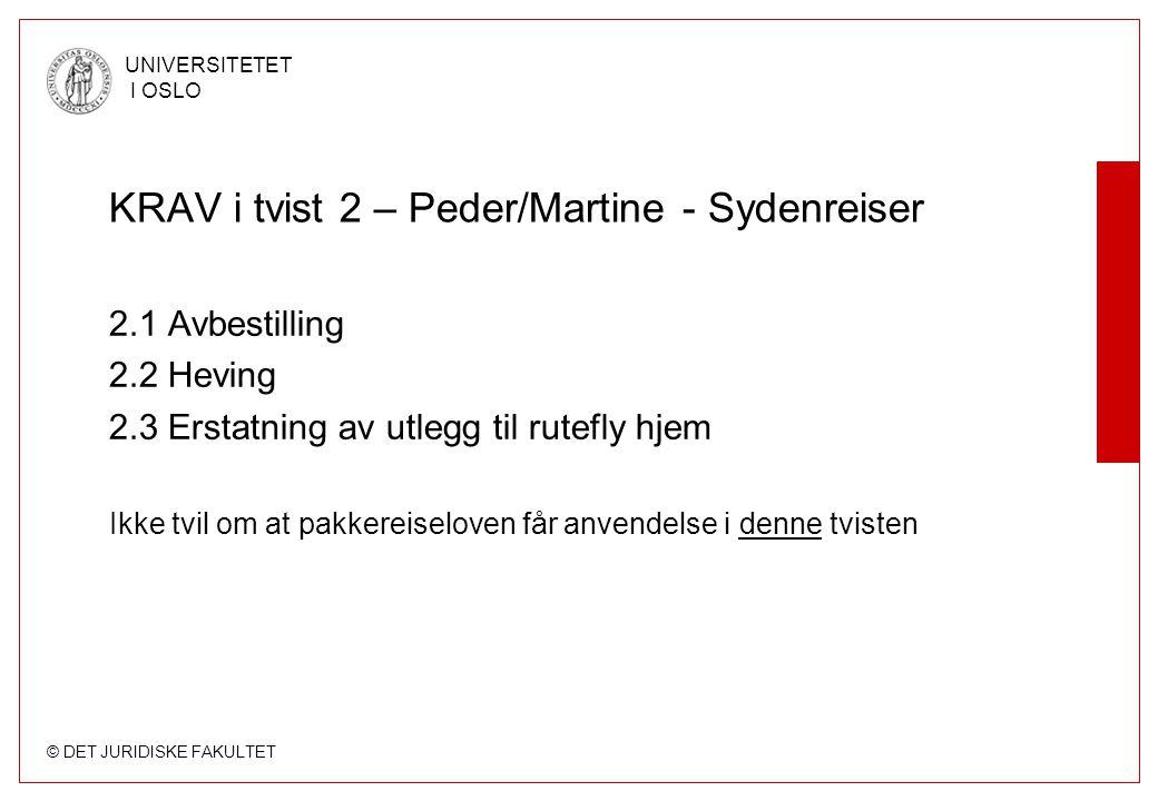 © DET JURIDISKE FAKULTET UNIVERSITETET I OSLO Krav i tvist 3 – Peder/Martine - staten 3.1 Betaling av terrortillegg