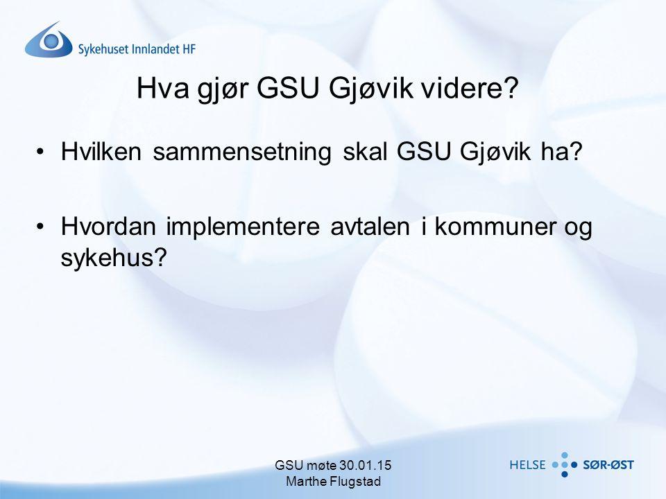Hva gjør GSU Gjøvik videre? Hvilken sammensetning skal GSU Gjøvik ha? Hvordan implementere avtalen i kommuner og sykehus? GSU møte 30.01.15 Marthe Flu