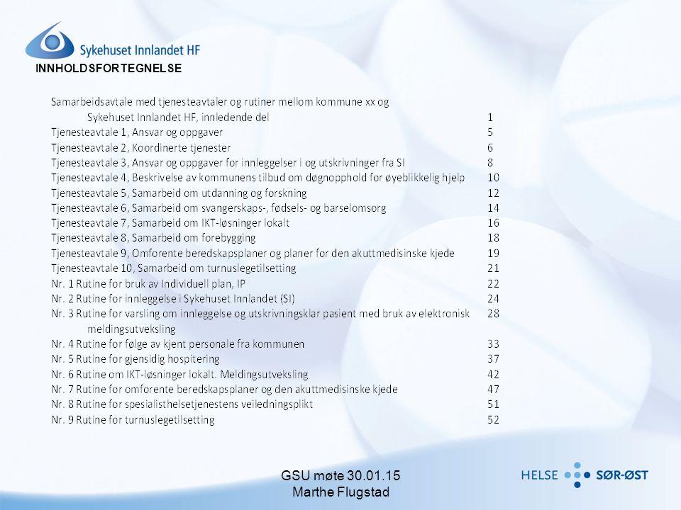 INNHOLDSFORTEGNELSE GSU møte 30.01.15 Marthe Flugstad