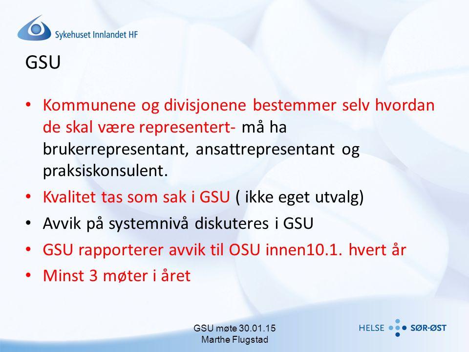 GSU Kommunene og divisjonene bestemmer selv hvordan de skal være representert- må ha brukerrepresentant, ansattrepresentant og praksiskonsulent. Kvali