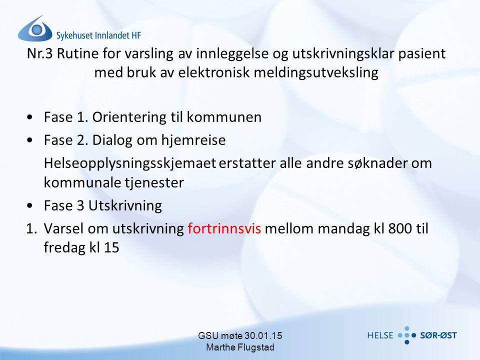 Nr.3 Rutine for varsling av innleggelse og utskrivningsklar pasient med bruk av elektronisk meldingsutveksling Fase 1. Orientering til kommunen Fase 2