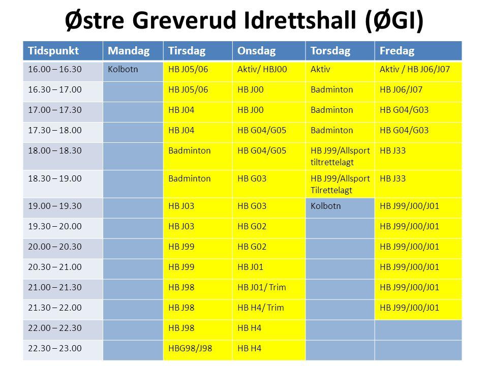 Østre Greverud Idrettshall (ØGI) TidspunktMandagTirsdagOnsdagTorsdagFredag 16.00 – 16.30KolbotnHB J05/06Aktiv/ HBJ00AktivAktiv / HB J06/J07 16.30 – 17.00HB J05/06HB J00BadmintonHB J06/J07 17.00 – 17.30HB J04HB J00BadmintonHB G04/G03 17.30 – 18.00HB J04HB G04/G05BadmintonHB G04/G03 18.00 – 18.30BadmintonHB G04/G05HB J99/Allsport tiltrettelagt HB J33 18.30 – 19.00BadmintonHB G03HB J99/Allsport Tilrettelagt HB J33 19.00 – 19.30HB J03HB G03KolbotnHB J99/J00/J01 19.30 – 20.00HB J03HB G02HB J99/J00/J01 20.00 – 20.30HB J99HB G02HB J99/J00/J01 20.30 – 21.00HB J99HB J01HB J99/J00/J01 21.00 – 21.30HB J98HB J01/ TrimHB J99/J00/J01 21.30 – 22.00HB J98HB H4/ TrimHB J99/J00/J01 22.00 – 22.30HB J98HB H4 22.30 – 23.00HBG98/J98HB H4